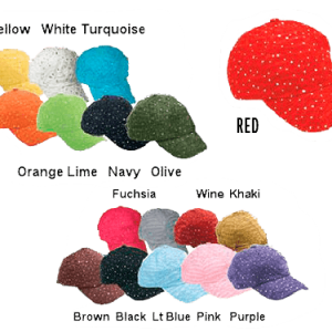 Picture of 17 different colors of women's fashion baseball hats with sparkly crystals