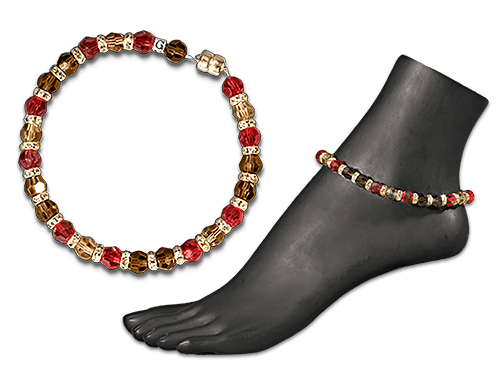 Picture of women's beaded ankle bracelets with gold, red, and amber beading