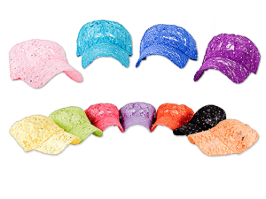 Picture of 11 different colors of women's fashion baseball hats designed with lace